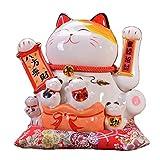 Maneki Neko à Bras Mobile- Chat Chinois Porte Bonheur en Porcelaine-Feng Shui Porte Dore,Blanc L21*W18*H24cm, 3