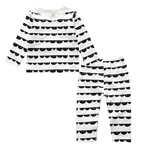 Ensemble de Pyjama en Coton Little Kids Boys pour Filles Vêtements de Nuit géométriques à Manches Longues Ensemble de vêtements de Nuit 2 pièces(C,12-18 Mois)