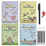 josietomy Caligrafía mágica, cuaderno mágico para niños, se puede reutilizar, juego de 4 libros de ejercicios para niños
