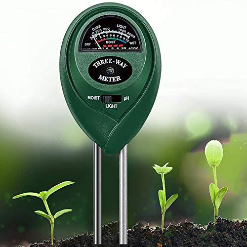 WEIYUN - Kit de prueba de suelo 3 en 1 para la humedad, luz y pH, herramienta de jardinería para el hogar, jardín, césped, granja, interior y exterior, promueve el crecimiento saludable de las plantas