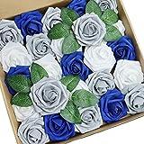 D-Seven 25pcs Artificial Flower White & Silver Gray & Royal Blue Roses with Stem for DIY Wedding Bouquets Floral Arrangements Wedding Flower Backdrop Bridal Shower Baby Shower Party Home Decor