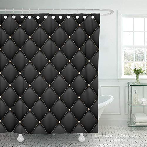 LongTrade Bad Duschvorhang Shower Curtain Black VIP Upholstery Gloss Quilted Pattern True Luxury with Gold Thread and Also Includes 10 Abstract Waterproof Polyester Fabric Set with Hooks 72