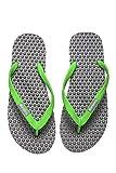BUMPERS Sandalias de masaje de acupresión para hombre - Chanclas de reflexología con un cómodo diseño de plantilla y suela con agarre firme (Talla 43-44, Verde y gris)