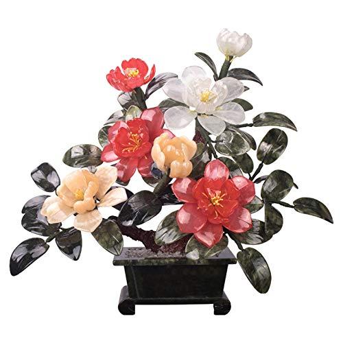 Xu Yuan Jia-Shop Bonsai Decorative Peony Bonsai Planta Artificial Decoración de la Planta Sala de Estar Entrada Artificial Bonsai Decoración de Escritorio Faux Potted Plant Gift Bonsai Tree