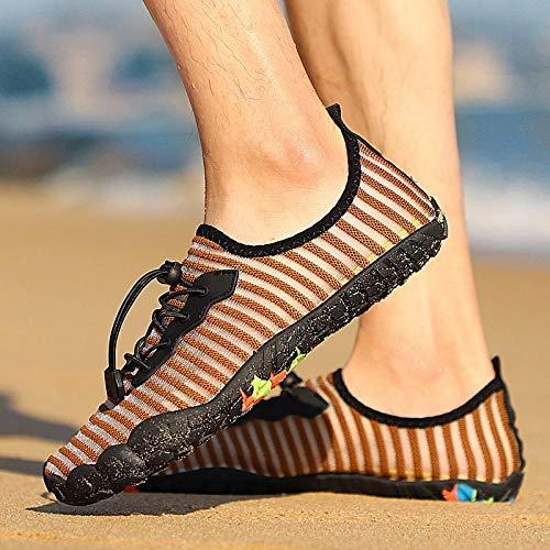 Kayak Zapatos de Agua,Escarpines de Playa,Zapatos Aguas Arriba al Aire Libre Pareja de natación Zapatos de Buceo de Playa de Secado rápido-Camel_36