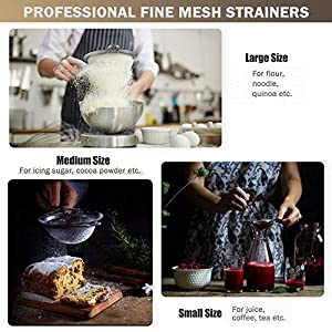 IPOW Fine Mesh Strainer, 3 Pack Professional Super Fine Mesh Strainer with Strengthened Non Slip Handles Covered by… |