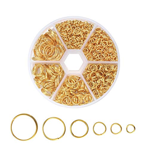 690 Pcs Gold Open Jump Rings, Round Jump Rings, Double Loop Split Rings with Storage Case for Earring Making, Jewellery Making, DIY Crafting(4mm/5mm/6mm/8mm/10mm/12mm)