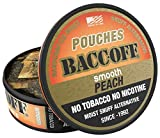 BaccOff, Smooth Peach Pouches, Premium Tobacco Free, Nicotine Free Snuff Alternative (5 Cans)