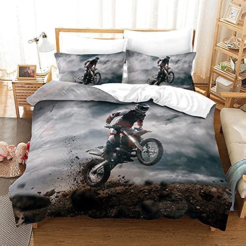 Bedclothes-Blanket Copripiumino neonata,Biancheria da Letto per Moto 3D SANDET a Tre Pezzi-2_155 * 220.