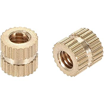 50 Pcs uxcell Knurled Insert Nuts M3 x 6mm L x 4mm OD Female Thread Brass Embedment Assortment Kit