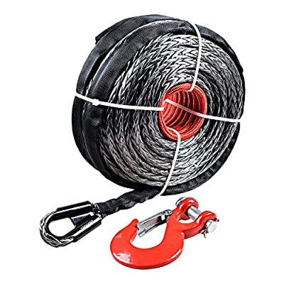 """95"""" x 3/8"""" 20000LBs Synthetic Winch Rope Line Cable for SUV ATV UTV Jeep Truck"""