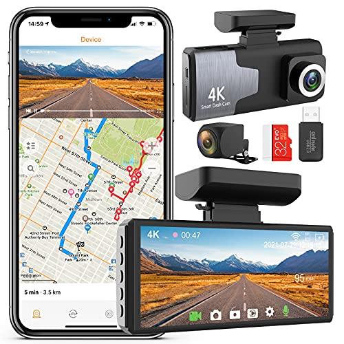 COTTNY 4K Dashcam Vorne und Hinten, Autokamera Dashcam Vorne Hinten kabellos, Dashcam mit GPS, Nachtsicht, G-Sensor, Loop-Aufnahm, Parküberwachung und Bewegungserkennung, Enthält Eine 32GB SD-Karte