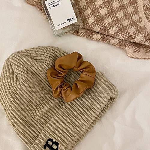 Cuerda para el cabello de cuero de pu de moda, tocado simple y versátil para el cabello, café con leche