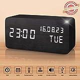 Réveil LED en Bois Artificiel, Horloge Numérique Activation Sonore avec Température/Calendrier/Luminosité USB Prise/Batterie (Noir)