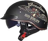 XLYYHZ Casco Retro de Motocicleta para Hombres y Mujeres, Gorra de béisbol de Moda, Modelado, Certificado por Dot, para Adultos, Casco Abierto, Bicicleta, Crucero, helicóptero, ciclomotor, Scooter,