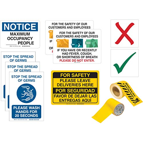 Small Business Social Distancing Kit, 2 Floor Tapes, 40 Seat Markers and 7 Signs