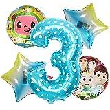 ENXI Globos 5pcs COCOMELON Tema Blanco Fiesta de cumpleaños Set Baby Shower Decoraciones de Aluminio película Número Globos ( Color : Ruby )