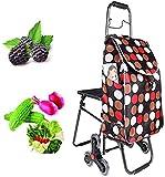 Inicio Equipo Carrito de compras plegable de tres ruedas con asiento plegable Carrito ligero para subir escaleras con bolsa de tela Oxford impermeable extraíble para personas mayores y compradores