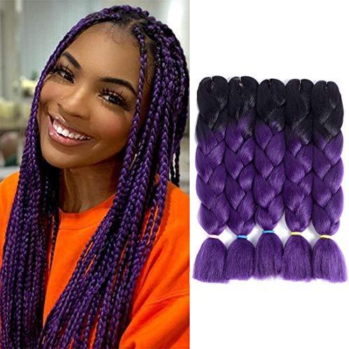 Liyate Jumbo Braiding Hair 24 Inch Crochet Hair Box Braids Ombre Kanekalon Braiding Hair Crochet Braids Synthetic Hair Extensions 5 Pcs/Lot 2 Tone Jumbo Hair for Braids (Black-Dark Purple)