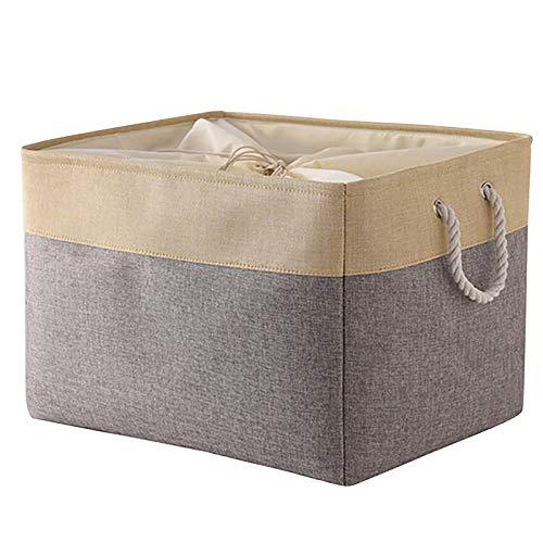 MOONMISUNI Almacenaje Caja Cesta de almacenamiento de lona gruesa plegable con asas de cuerda para la ropa, los cosméticos