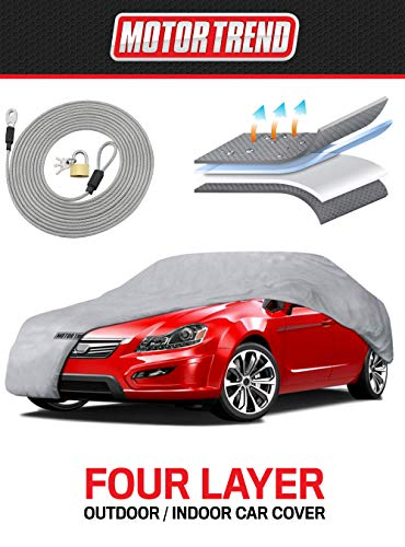 Motor Trend 4-Layer 4-Season Car Cover Waterproof All Weather for Heavy Duty Use for Sedan Coupes Up to 190""