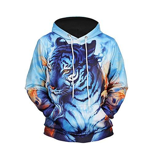 LLZGPZWY 3D Hoodies Sportswear Hooded Sweatshirt Hoody Pullover Herfst Winter Heren Draag Digitale Tijger Print Hoodie 3D Sweater Paar Kostuum