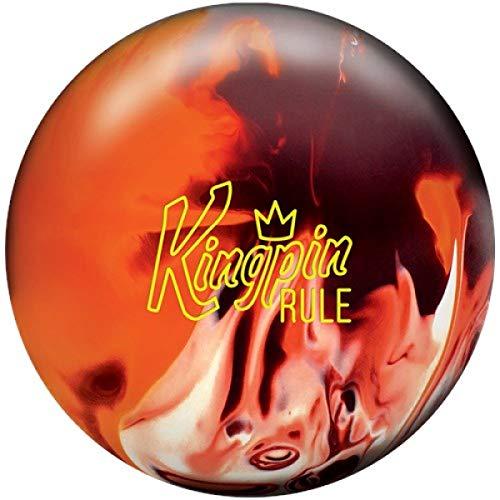 Brunswick Kingpin Rule, Kastanienbraun/Orange/Weiß, Solid Oberfläche, Reaktiv Bowlingkugel für Einsteiger und Turnierspieler - inklusive 100ml EMAX Ball-Reiniger Größe 14 LBS
