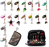 Aneew 16pcs Tackle Kit Spoon Fishing Lures Metal Swivel Spinners Spinnerbait with Bag Salmon Frog Trout for Freshwater Saltwater (B Style-16pcs)