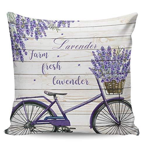 Winter Rangers Fundas de almohada decorativas, diseño retro de lavanda para bicicleta, estilo pastoral, ultra suave, funda de cojín cuadrada cómoda para sofá, dormitorio, 50,8 x 50,8 cm
