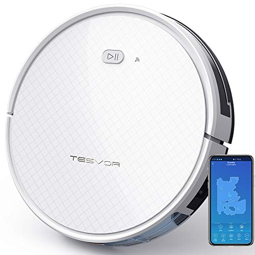 Tesvor Robot Vacuum, Robotic Vacuum and Mop Cleaner, 1800Pa Strong Suction, WiFi Connectivity, App and Alexa Voice Control,Clean from Hardfloors to Low-Pile Carpets, for Dust and Pet Hair