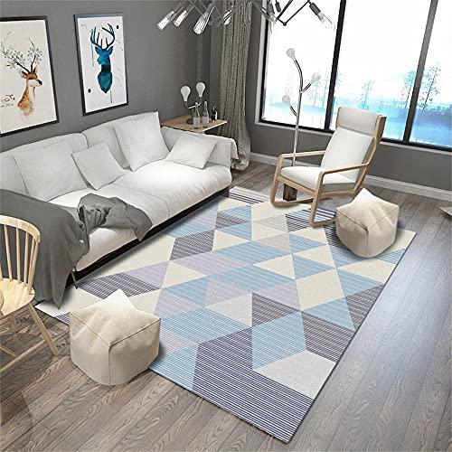 alfombras Cocina Alfombra Azul Claro, Alfombra para Gatear con patrón de Rombos, fácil de Limpiar, Alfombra antiestática para bebés alfombras para Cocina -Azul Claro_160 x 230