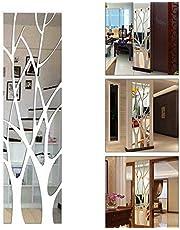 ZUNBO Moderno Estilo Espejo Extraíble Calcomanía Árbol Arte Mural Pegatinas de Pared Etiqueta De La Pared DIY 3D Espejo Decoración De Casa
