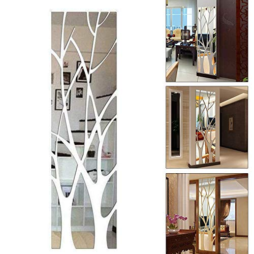 TEYU - Pegatina decorativa 3D para pared, efecto de espejo, acrílico, de ramas de árbol, extraíble, para decoración de dormitorio, salón, cuarto de baño