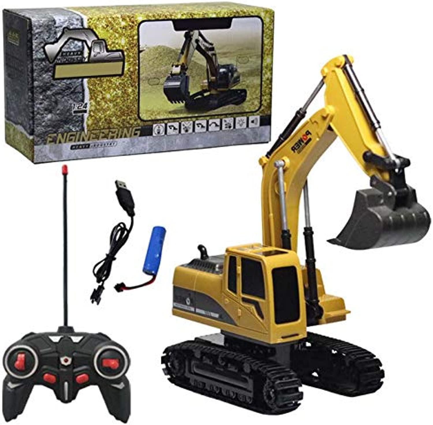 Generic Alloy Excavator 6 Channel 1 24 RC Excavator Charging RC Car with Battery RC Alloy Excavator RC Engineering Car Tractor