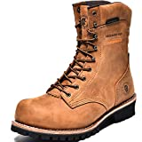 ROCKROOSTER Work Boots for Men, 9'' Waterproof Logger, Composite Toe, EH, Anti-Fatigue(AP156 Brown, 8)