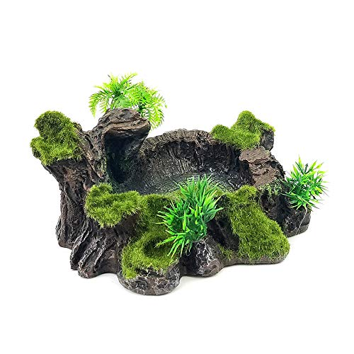 Chnee Plastic Reptile Tank Decor Resin Reptile Platform Artificial Tree Trunk Design Reptile Water Dish Water Bowl for Lizard, Gecko, Water Frog, Other Reptile