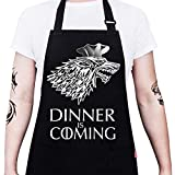 ALIPOBO Grill Aprons for Men Women, Dinner is Coming Game of Thrones Kitchen Chef Apron with 2 Pockets and 40' Long Ties, Adjustable Bib Apron for Cooking, BBQ, Baking, Gardening, Black