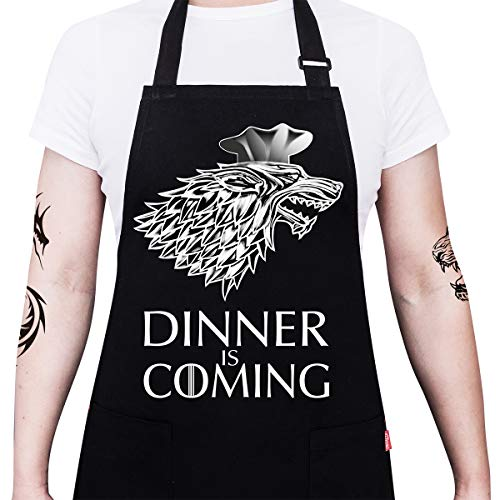 "ALIPOBO Grill Aprons for Men Women, Dinner is Coming Game of Thrones Kitchen Chef Apron with 2 Pockets and 40"" Long Ties, Adjustable Bib Apron for Cooking, BBQ, Baking, Gardening, Black"