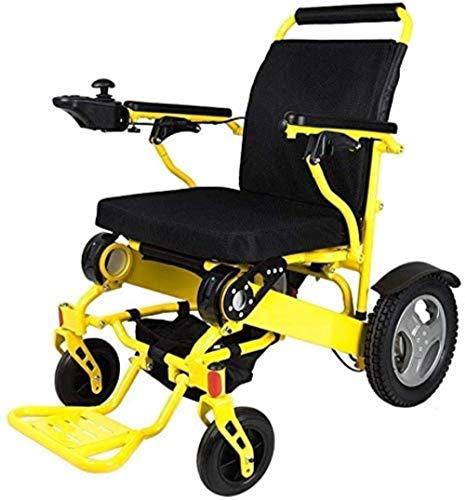 Silla de ruedas eléctrica for sillas de ruedas plegable liviana aleación de aluminio litio batería inteligente anciano deshabilitado silla de ruedas coche (250W * 2), amarillo, color Nombre: Amarillo