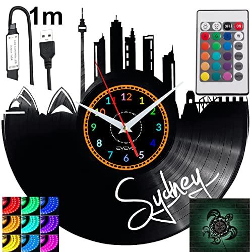 Sydney - Reloj de pared con luz LED RGB para mando a distancia, diseño moderno y decorativo para regalo de cumpleaños