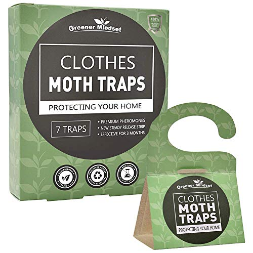 Greener Mindset Clothes Moth Traps 7-Pack with Premium Pheromone Attractant - Quickly and Effectively Capture Clothes Moths