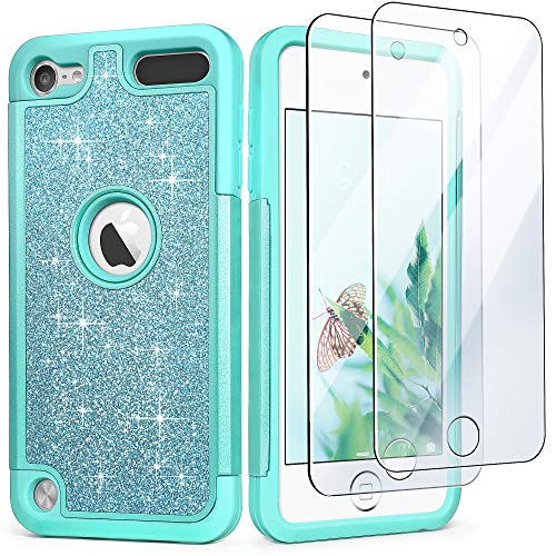 iPod Touch 6 Case with 2 Screen Protectors, Glitter Bling Dual Layer Heavy Duty Impact Protective Phone Case for Apple iPod Touch 5/6/7th Generation for Girls Women, Mint Green