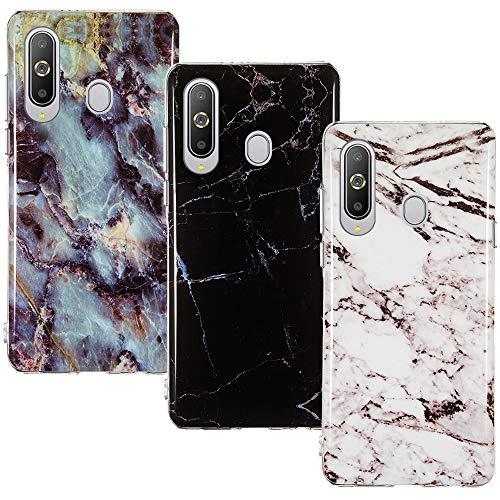 CLM-Tech Hülle 3X kompatibel mit Samsung Galaxy A8s, TPU Silikon-Hülle Hülle Schutzhülle Handyhülle 3er Set, Marmor schwarz weiß Mehrfarbig