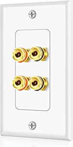 TNP Home Theater Speaker Wall Plate Outlet - 2 Speaker Sound Audio Distribution Panel Gold Plated Copper Banana Plug Binding Post Connector Insert Jack Coupler (2 Pair, Single Gang, White)