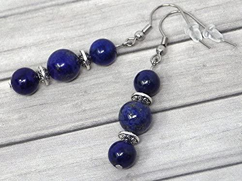 Pendientes colgantes Thurcolas de estilo chic y clásico en lapislázuli azul y acero inoxidable