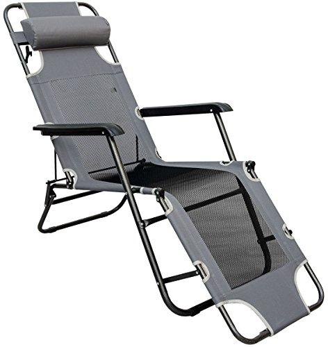 AMANKA Ligstoel 180x60cm - opvouwbaar Campingstoel Ligbed Strandstoel Tuinstoel vouwligstoel Grijs