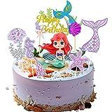 Sirena Cupcakes Decoración,Sirena Cake Topper,Topper de Pastel de Cumpleaños,Cupcake Topper Set para Fiesta de Cumpleaños,Fiesta de Bodas,Mermaid Theme Party Decoration (A)