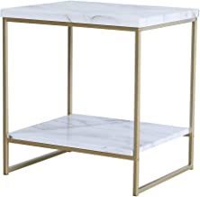 Roomfitters White Marble Print Side Table with Gold Metal Frame, Living Room Bedroom Tables…