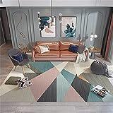 Alfombra Grande Salon Alfombra Azul, patrón geométrico no se desvanece, Alfombra Suave Transpirable y Moderna Alfombra Pasillo -Azul_El 180x240cm