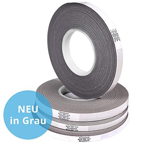 Panorama24 10m Komprimierband Acryl 300 10/3, Bandbreite 10mm, expandiert von 3 auf 15mm, grau, Fugendichtband Kompriband Fugenabdichtung Dichtungsband Fensterdichtband Quellband Fugendichtband